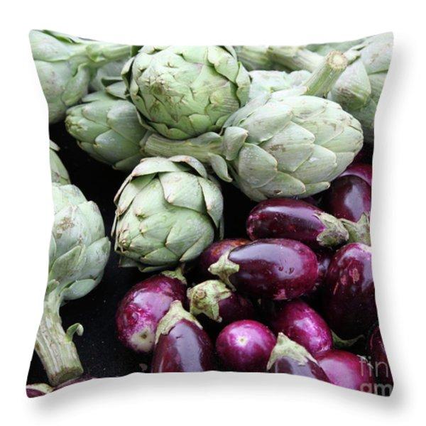 Artichokes And Eggplants  Throw Pillow by Enzie Shahmiri