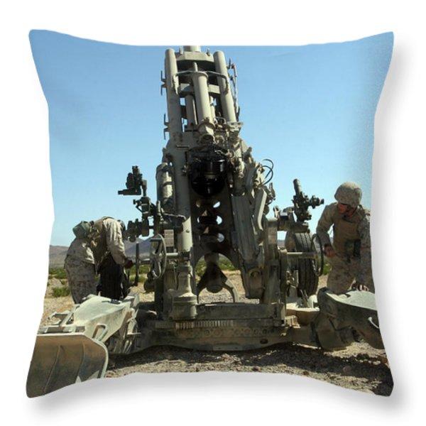 Artillerymen Manning The M777 Throw Pillow by Stocktrek Images