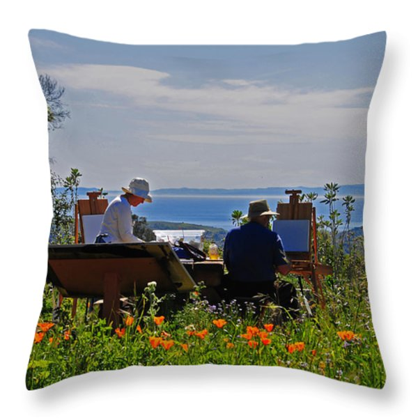 Artists At Work Throw Pillow by Lynn Bauer
