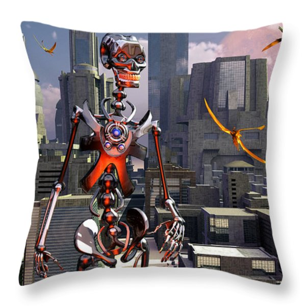 Artists Concept Of A City Of The Future Throw Pillow by Mark Stevenson