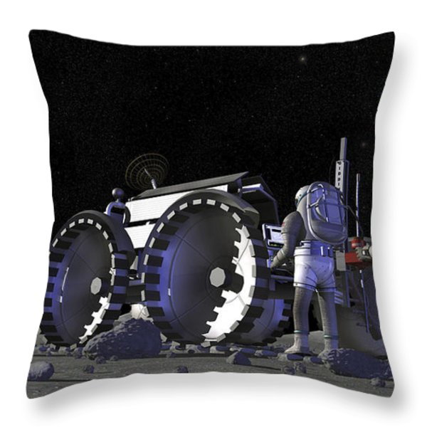 Artists Rendering Of Future Space Throw Pillow by Stocktrek Images