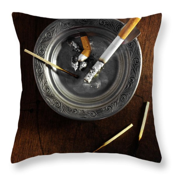 Ashtray Throw Pillow by Carlos Caetano