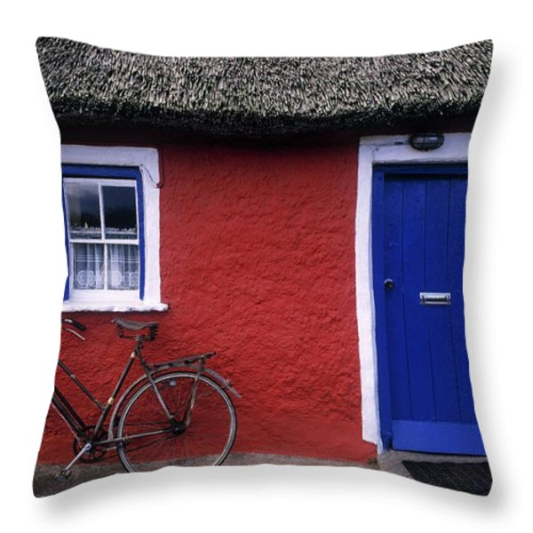 Askeaton, Co Limerick, Ireland, Bicycle Throw Pillow by The Irish Image Collection