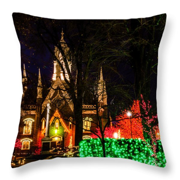 Assembly Hall SLC Christmas Throw Pillow by La Rae  Roberts
