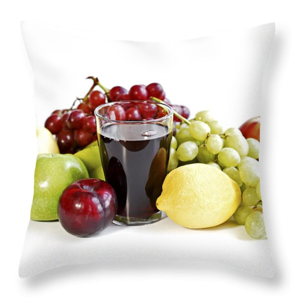 Assorted Fruits On White Throw Pillow by Elena Elisseeva