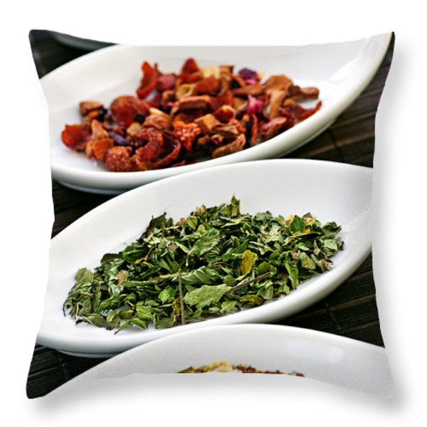 Assorted Herbal Wellness Dry Tea In Bowls Throw Pillow by Elena Elisseeva