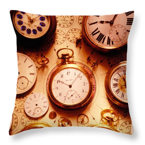 Assorted watches on time chart Throw Pillow by Garry Gay