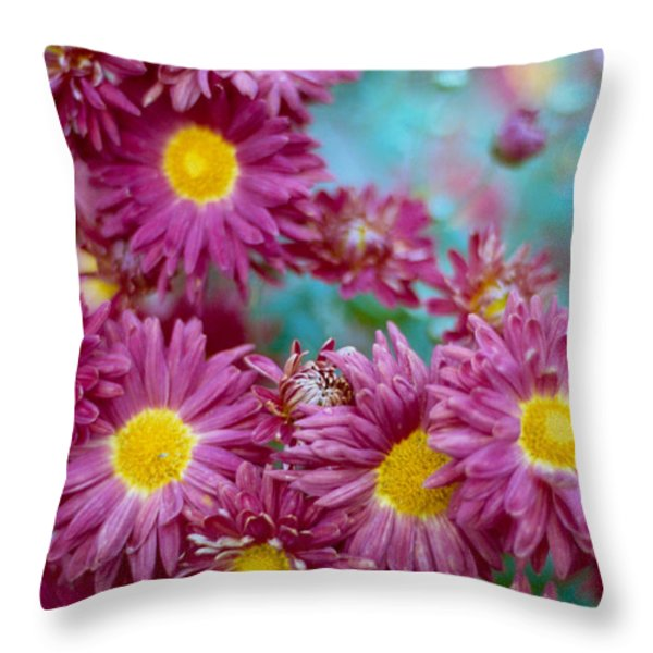 Asters Throw Pillow by Marcio Faustino