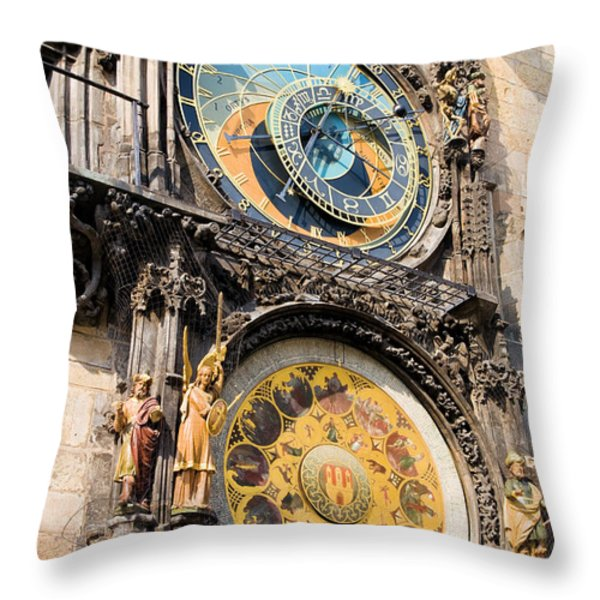 Astronomical Clock in Prague Throw Pillow by Artur Bogacki