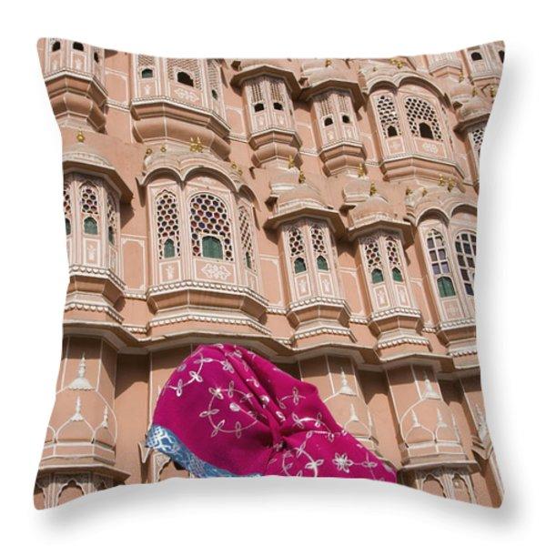 At Hawa Mahal City Palace, Jaipurs Most Throw Pillow by Axiom Photographic