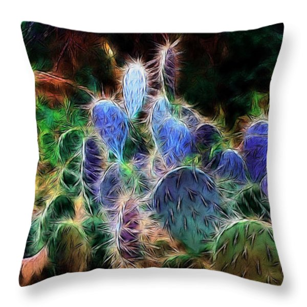 At Night The Desert Glows Throw Pillow by Ellen Heaverlo