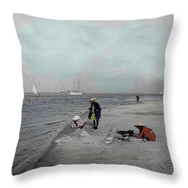 At the Beach Throw Pillow by Andrew Fare