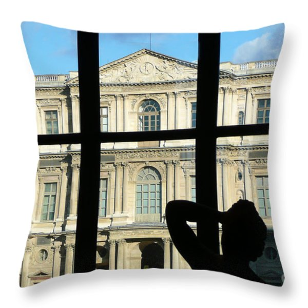 At The Louvre Throw Pillow by Bob and Nancy Kendrick
