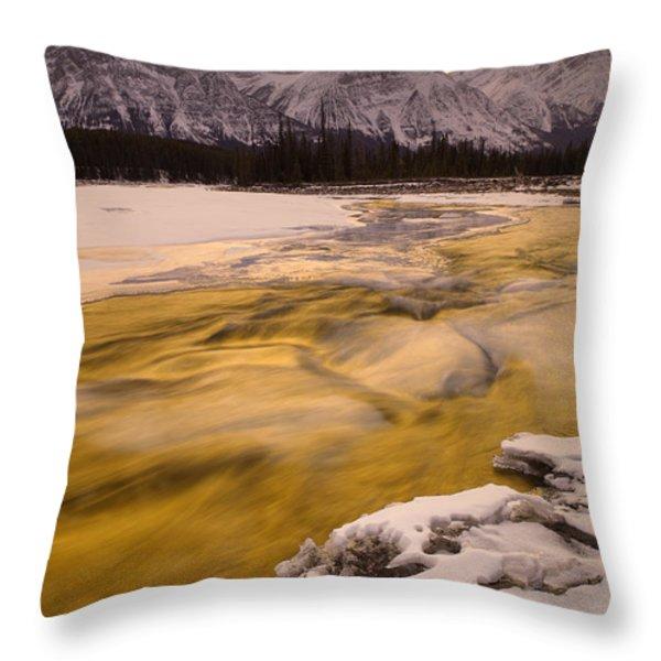 Athabasca River And Mt Fryatt, Jasper Throw Pillow by Darwin Wiggett
