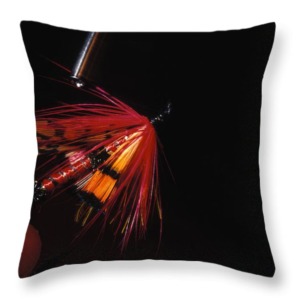 Atlantic Salmon Fly Tieing Throw Pillow by Nick Norman