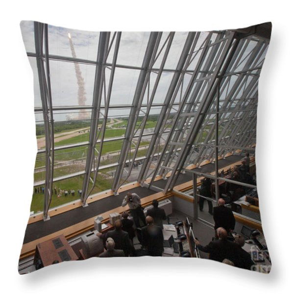 Atlantis Shuttle Liftoff, Viewed Throw Pillow by NASA/Science Source