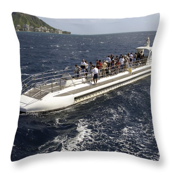 Atlantis Submarine - Waikiki Bay Hawaii Throw Pillow by Daniel Hagerman