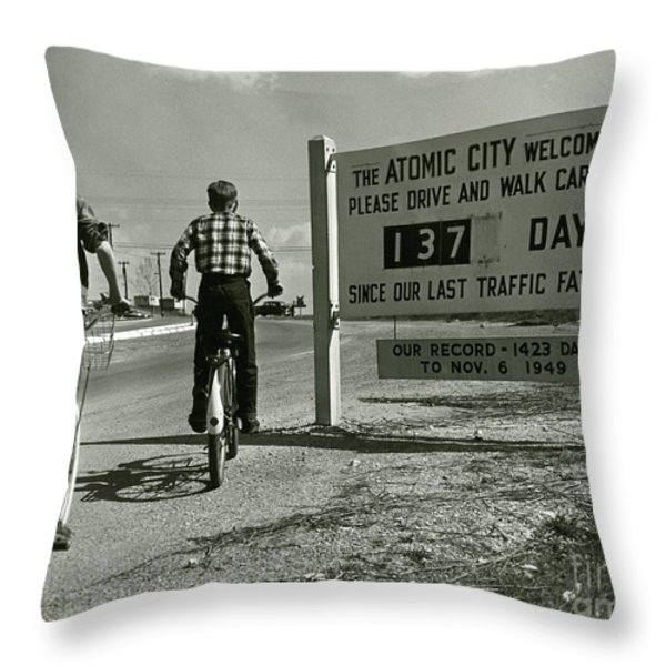 Atomic City Tennessee in the Fifties Throw Pillow by Tom Hollyman and Photo Researchers