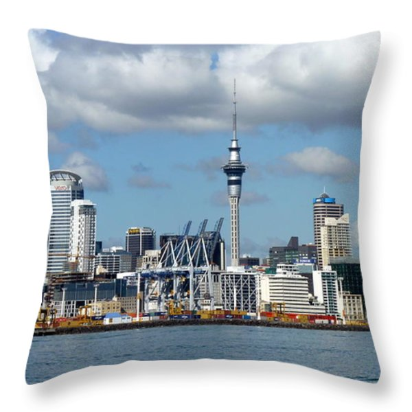Auckland Skyline Throw Pillow by Carla Parris