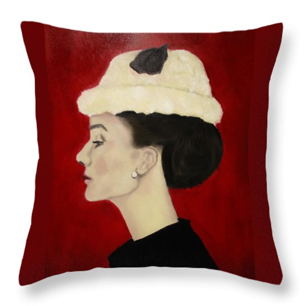 Audrey Hepburn Throw Pillow by Michael Kulick