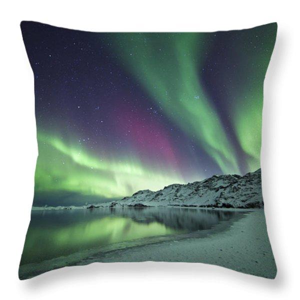 Aurora Borealis In Iceland Throw Pillow by Arnar B Gudjonsson