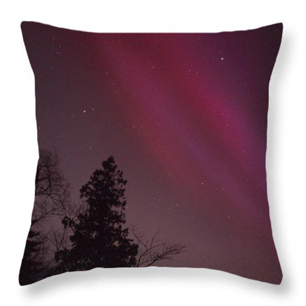 Aurora Borealis Over Jordan Pond Throw Pillow by Michael Melford