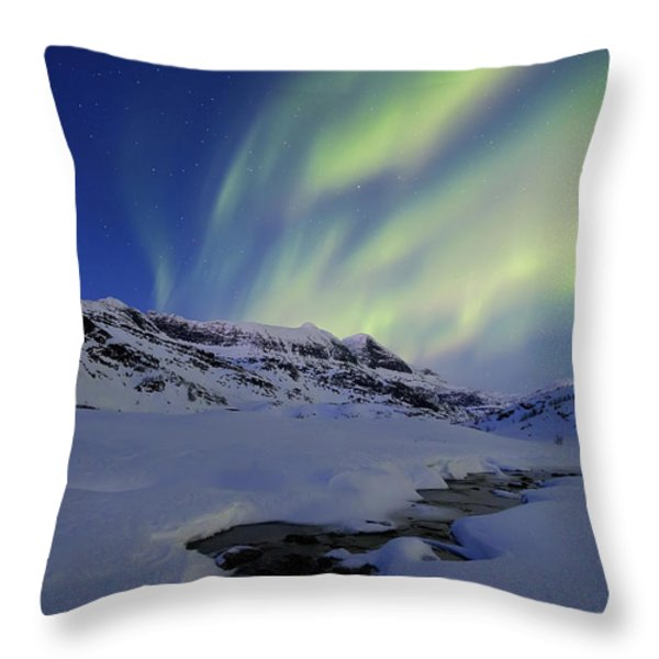 Aurora Over Skittendalstinden In Troms Throw Pillow by Arild Heitmann