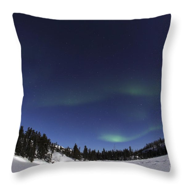 Aurora Over Vee Lake, Yellowknife Throw Pillow by Yuichi Takasaka