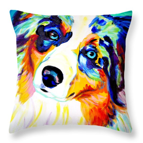 Aussie - Moonie Throw Pillow by Alicia VanNoy Call