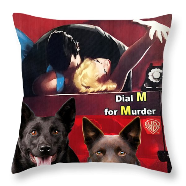 Australian Kelpie - Dial M For Murder Movie Poster Throw Pillow by Sandra Sij