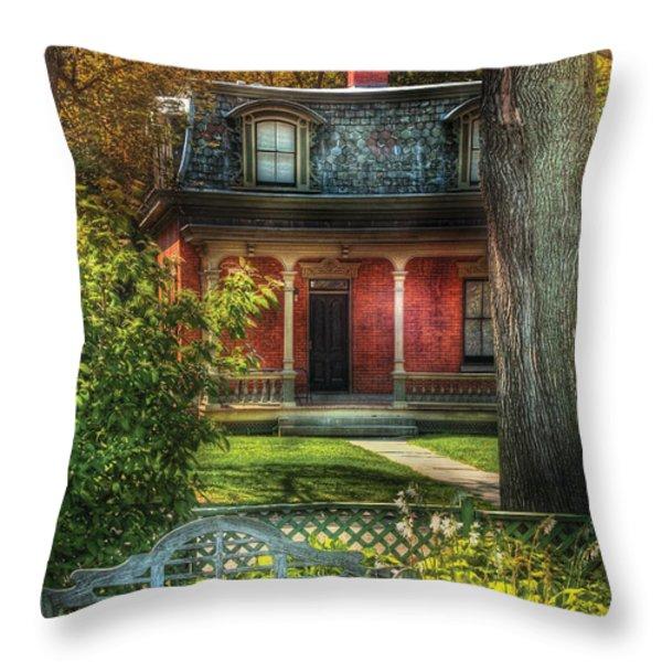 Autumn - House - The Estates Throw Pillow by Mike Savad