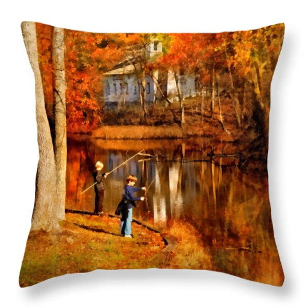 Autumn - People - Gone Fishing Throw Pillow by Mike Savad