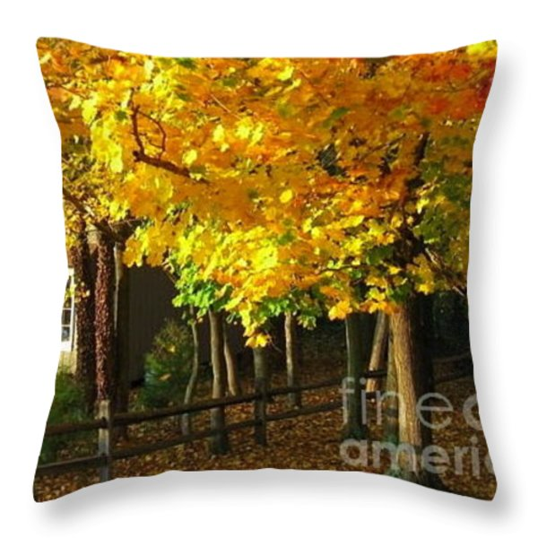 Autumn At Bayberry Cottage  Throw Pillow by Nancy Patterson