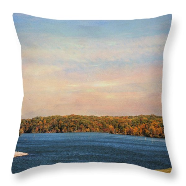 Autumn at Lake Graham Throw Pillow by Jai Johnson