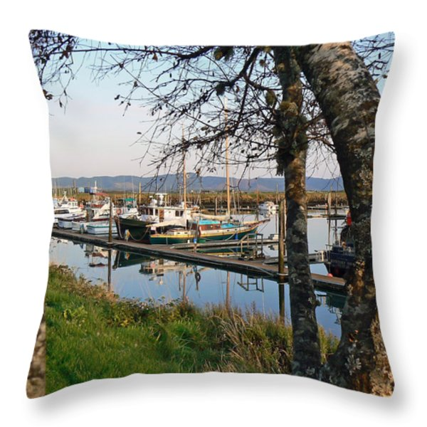 Autumn at the Harbor Throw Pillow by Pamela Patch