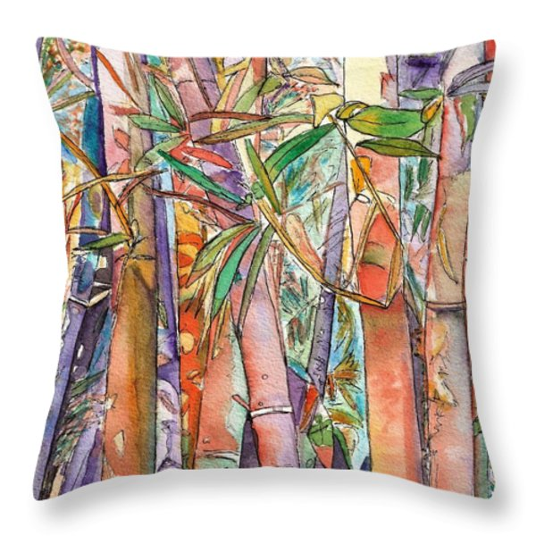 Autumn Bamboo Throw Pillow by Marionette Taboniar