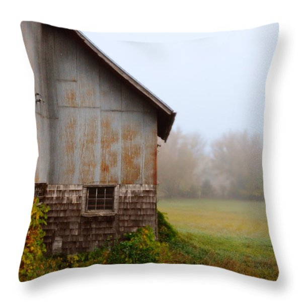 Autumn Barn Throw Pillow by Jill Battaglia