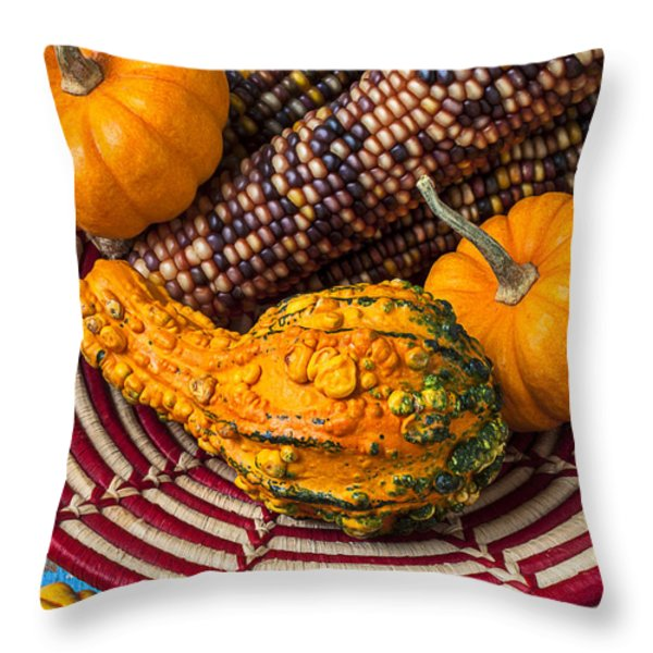 Autumn basket  Throw Pillow by Garry Gay