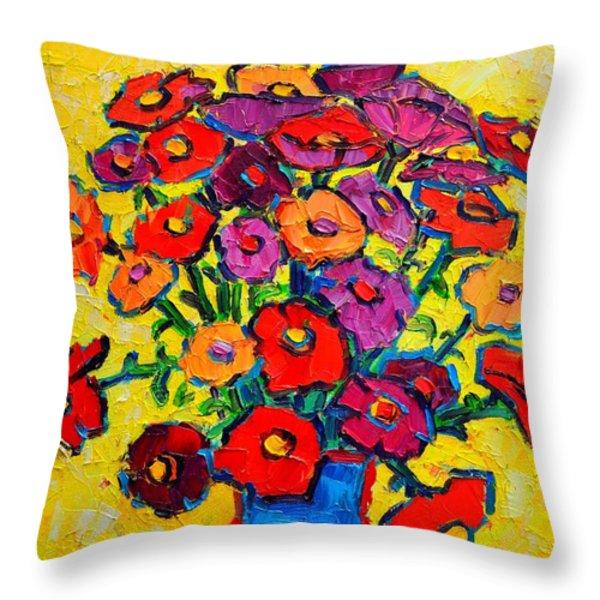 Autumn Flowers Zinnias Original Oil Painting Throw Pillow by Ana Maria Edulescu