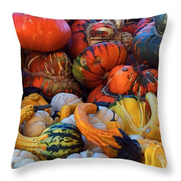 Autumn Harvest Throw Pillow by Carol Cavalaris