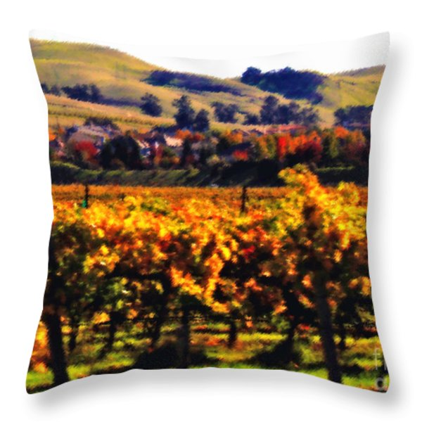 Autumn In The Valley 2 - Digital Painting Throw Pillow by Carol Groenen
