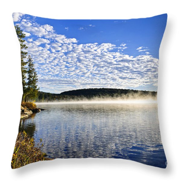 Autumn lake shore with fog Throw Pillow by Elena Elisseeva