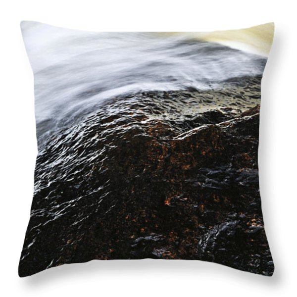 Autumn leaf on river rock Throw Pillow by Elena Elisseeva