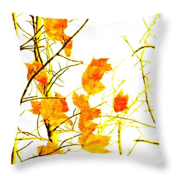 Autumn Leaves Abstract Throw Pillow by Andee Design