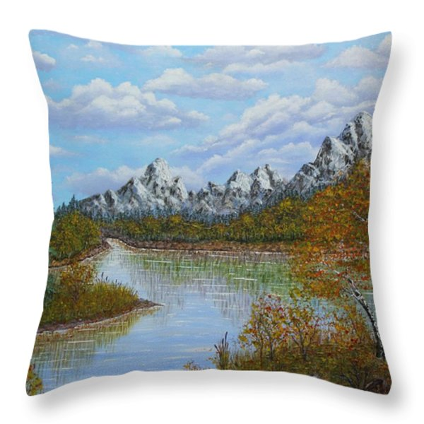Autumn Mountains Lake Landscape Throw Pillow by Georgeta  Blanaru