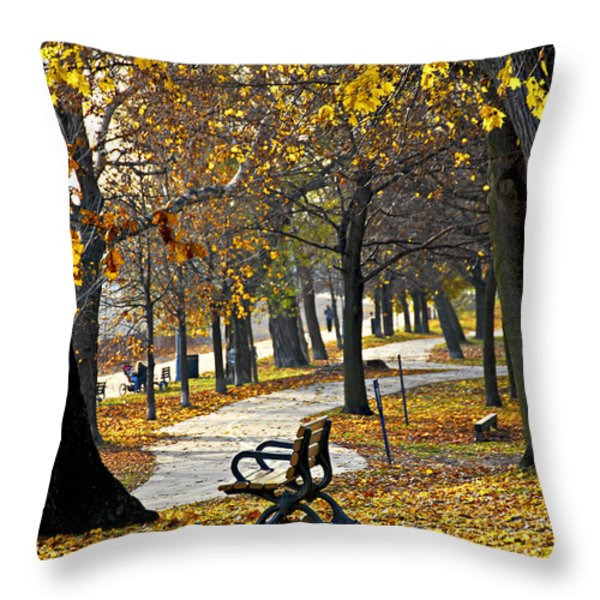 Autumn park in Toronto Throw Pillow by Elena Elisseeva