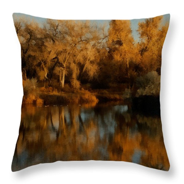 Autumn Reflections Painterly Throw Pillow by Ernie Echols