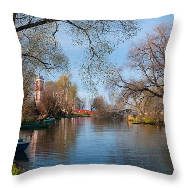 Autumn Scene On The River Throw Pillow by Konstantin Gushcha
