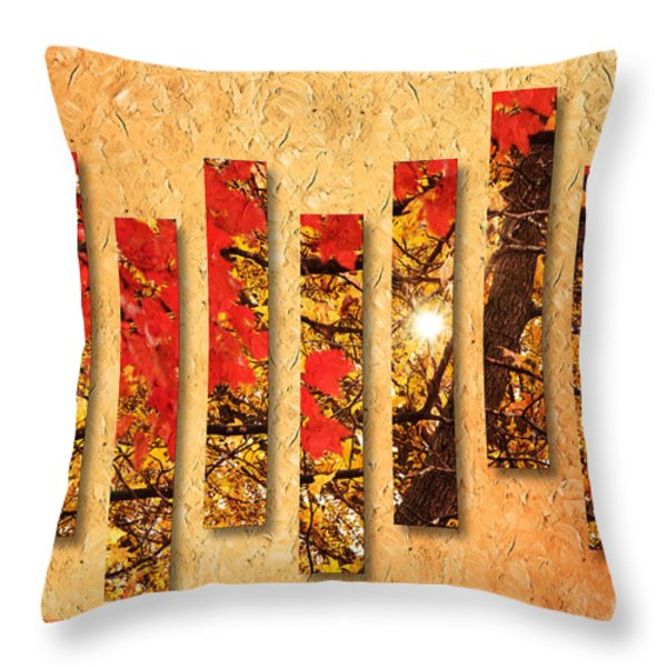 Autumn Sunrise Painterly Abstract Throw Pillow by Andee Design