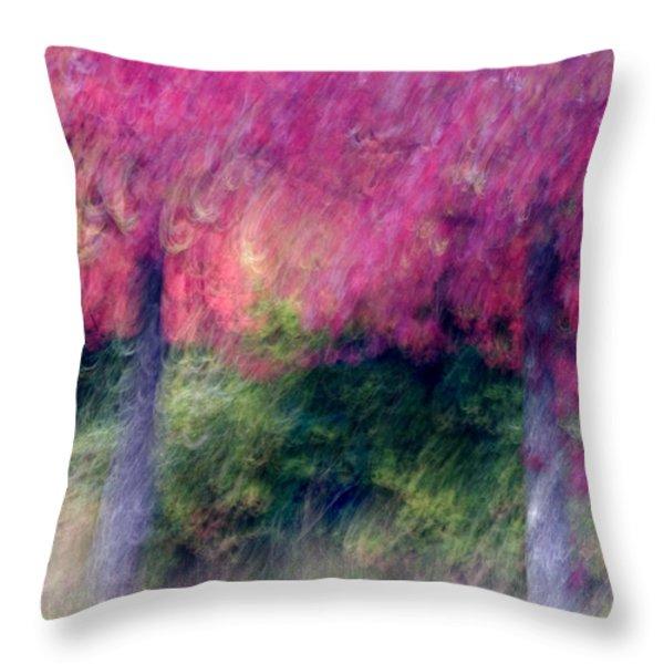 Autumn Trees Throw Pillow by Carol Leigh